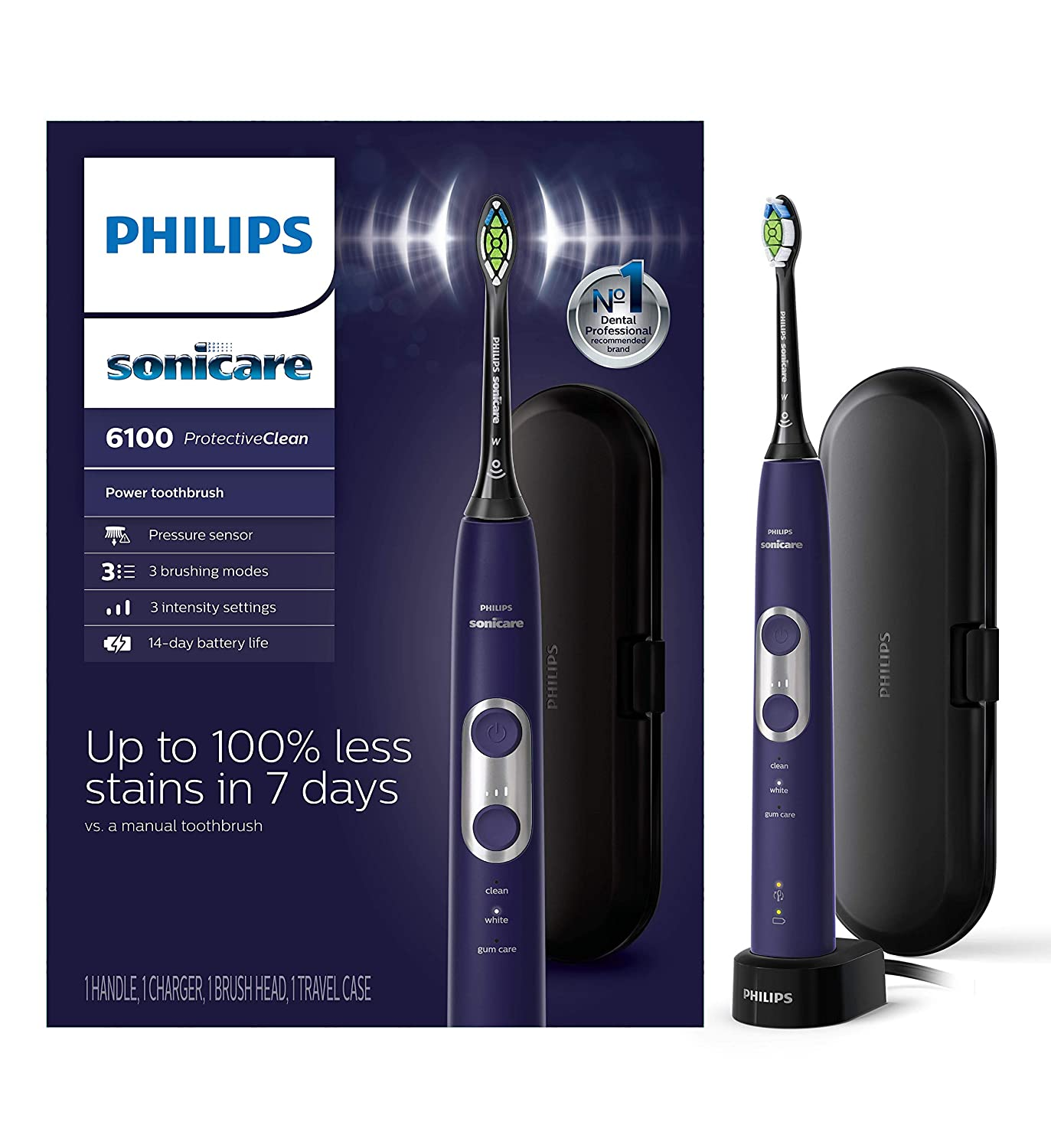 Philips Sonicare ProtectiveClean 6100 Rechargeable Electric Toothbrush, Deep Purple, HX6471/03