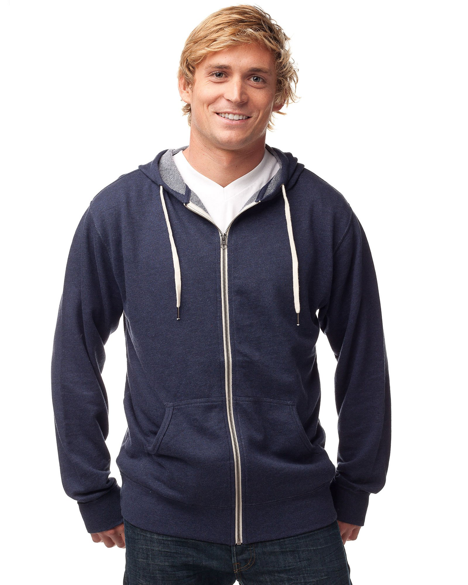 Global Blank Slim Fit French Terry Lightweight Zip up Hoodie for Men and Women XXL Navy Blue