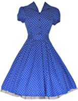 Vintage Style Blue White Polka Dot Classic Full Circle Shirt Dress