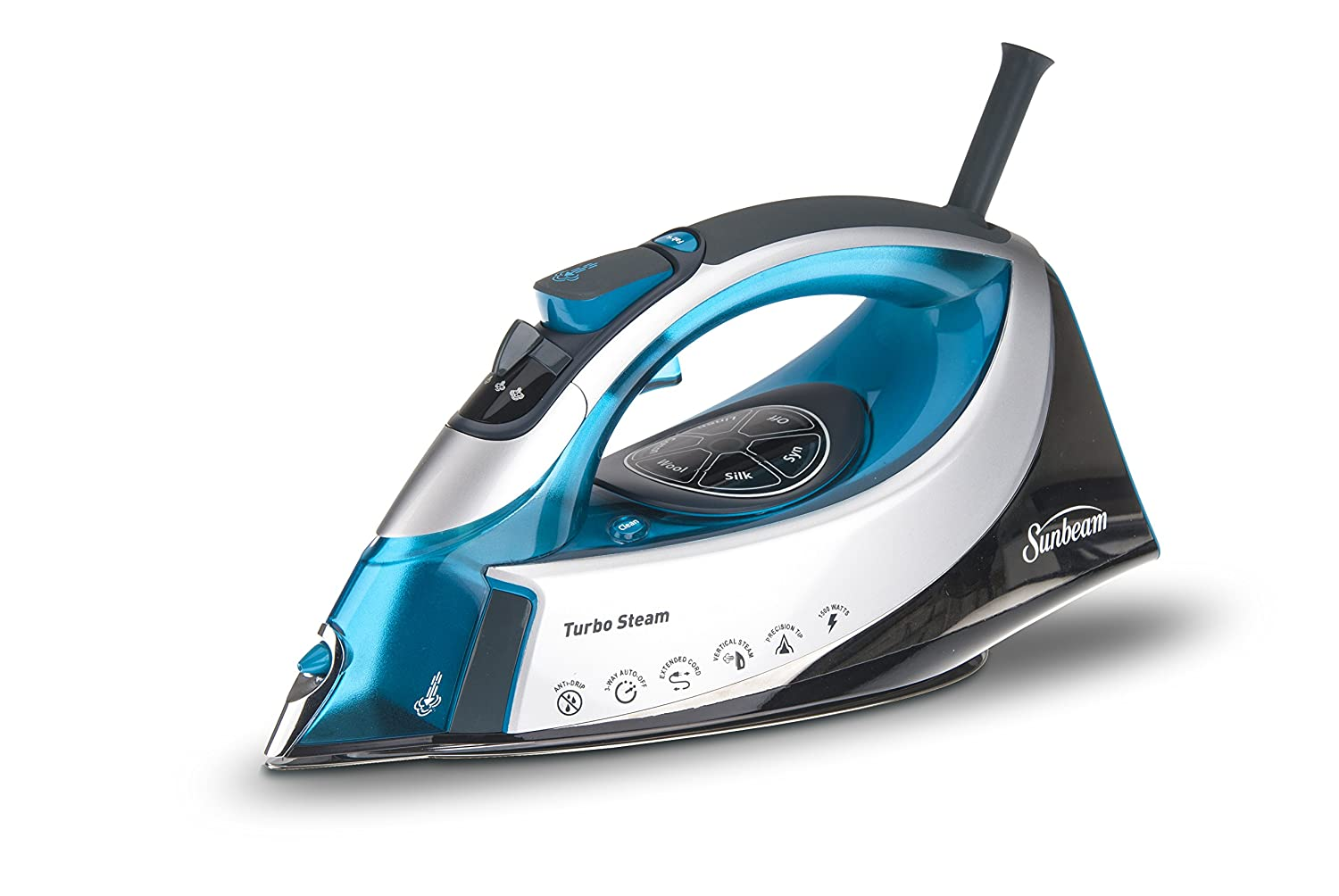 Sunbeam B00S6ZIXGO Turbo Steam 1500 Watt XL-Size Anti-Drip Digital Temperature Control Iron, Silver/Turquoise, 9.7 x 5 x 6.1 Aqua