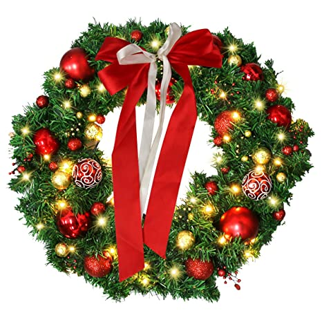 AD 24 Inch Christmas Wreath with LED Lights , Christmas Garland with Wreath  Hanger, Artificial Xmas Pine Wreath , Christmas Decorations