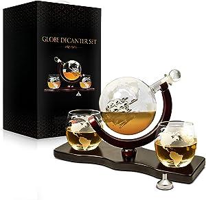 Whiskey Decanter Set World Etched Globe Decanter Antique Ship GlassesTongs Bar Funnel Stopper Liquor Dispenser Spirits Scotch Bourbon Vodka Rum Wine Tequila Brandy Perfect Gift 850 ml