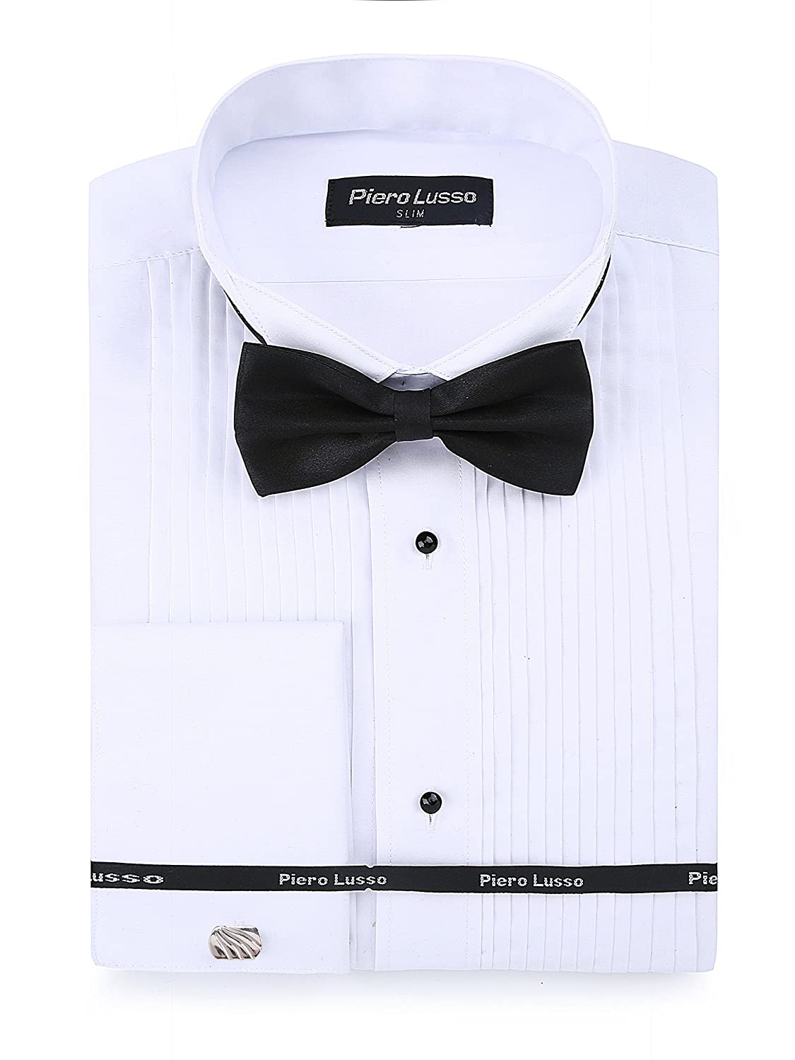 Piero Lusso Men's Wingtip Collar Tuxedo Dress Shirt with French Cuffs and Bow Tie