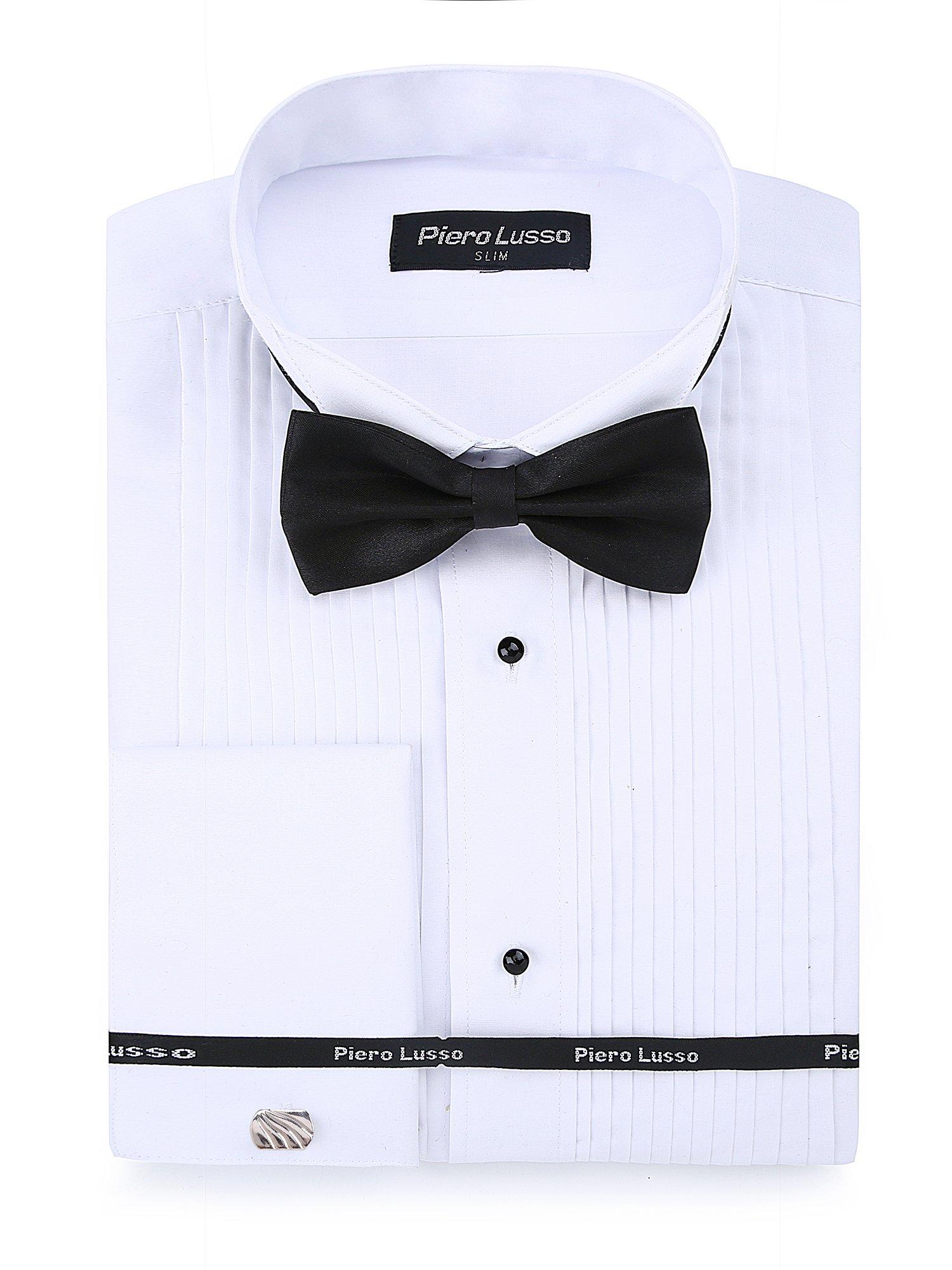 Adam Baker Men/'s Slim Fit Convertible Cuffs Formal Wingtip Collar Tuxedo Shirt 1943 Bowtie /& Studs Included