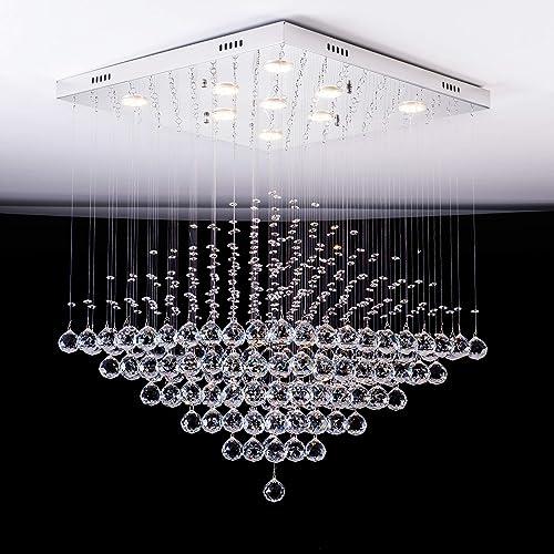 Fashionou Crystal Light Raindrop Chandelier Ceiling Light Chandelier for Dining Room, Bathroom Fixtures Pendant Lighting for Bedroom LED Lighting Fixtures Large Square