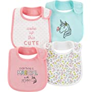 Carter's Baby Girls' 4-Pack Teething Bibs (Mint/Unicorn)