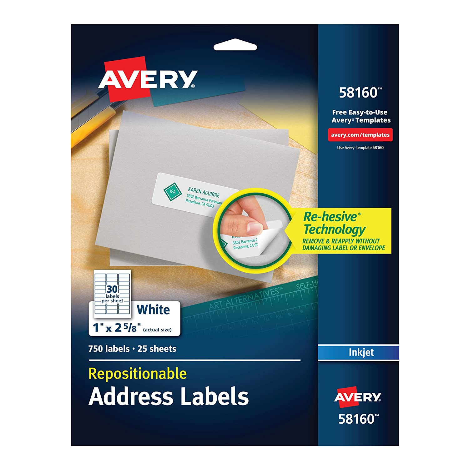 amazoncom avery repositionable address labels for inkjet printers 1 x 2 58 pack of 750 58160 office products