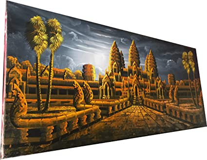 Amazoncom Angkor Wat Temple Painting From Cambodia 275 X 115