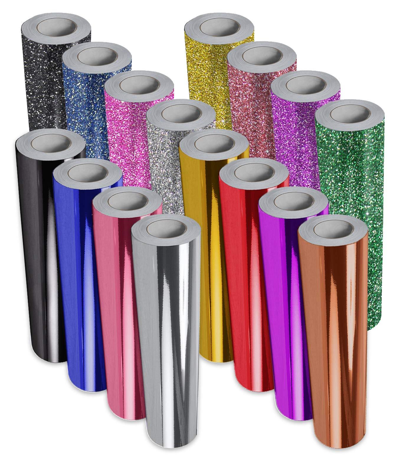 VViViD 16-Color Chrome Gloss & Matte Glitter DECO65 Permanent Adhesive Craft Vinyl 1ft x 5ft Roll Bundle