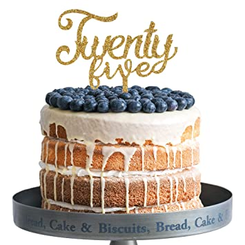 Amazon Twenty Five Happy Birthday Cake Topper Gold Glitter