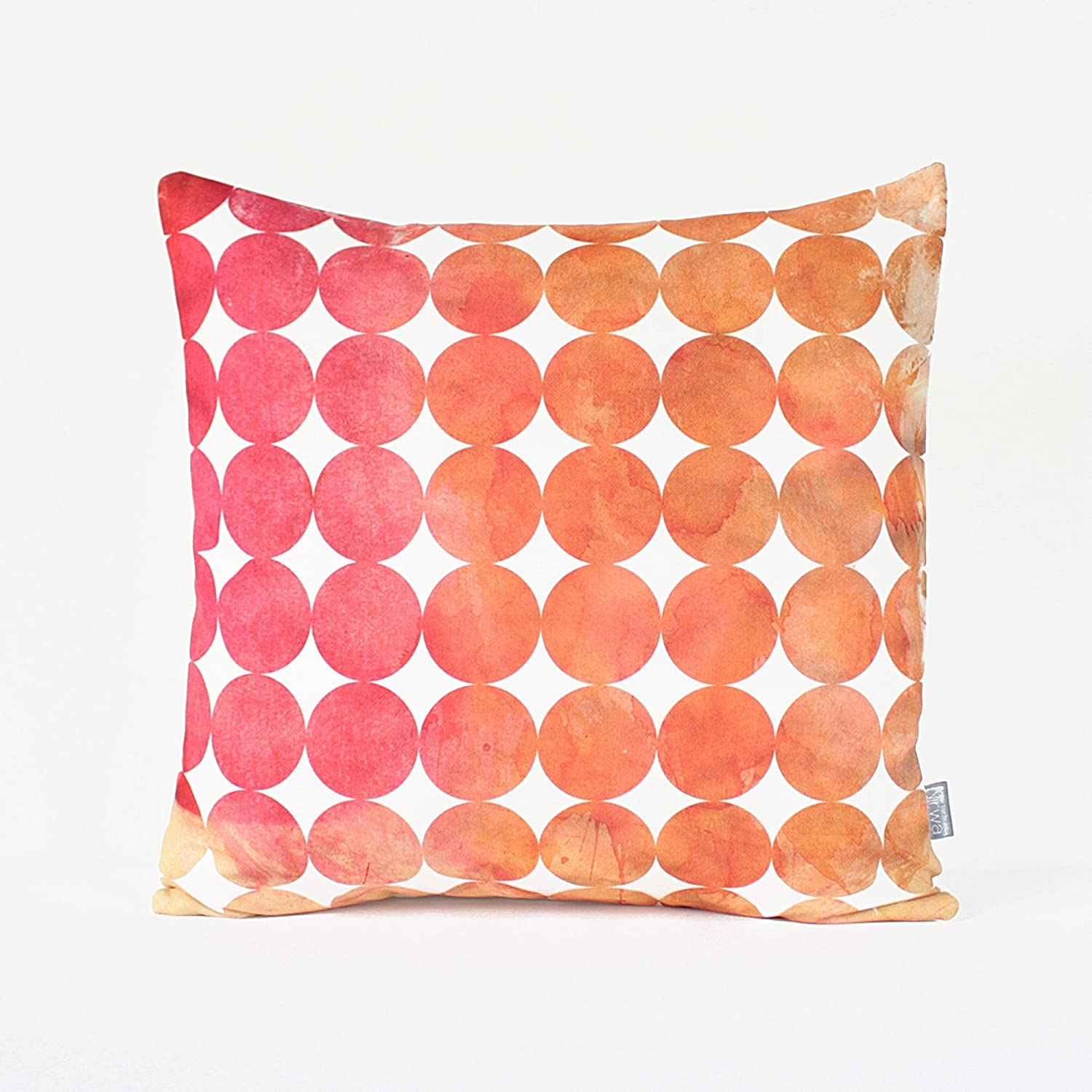 6004cc4922 Geometric Circle Pillow Cover in Pink, Orange / Pink Watercolor Pillow /  Pink Geometric Cushion / Circle Pillow / Modern Pillow / 18