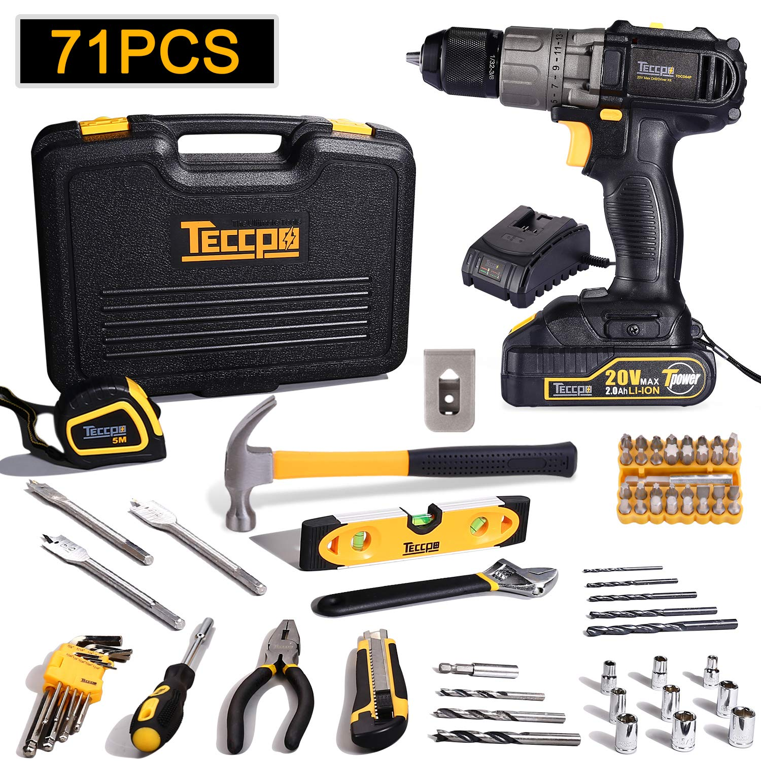 Drill and Home Tool Kit, TECCPO 20V Cordless Drill with 2.0Ah Battery and Fast Charger, 71Pcs Home Tools Includes Hammer, Slotted Screwdriver and Wrench with Plastic Toolbox Storage Case