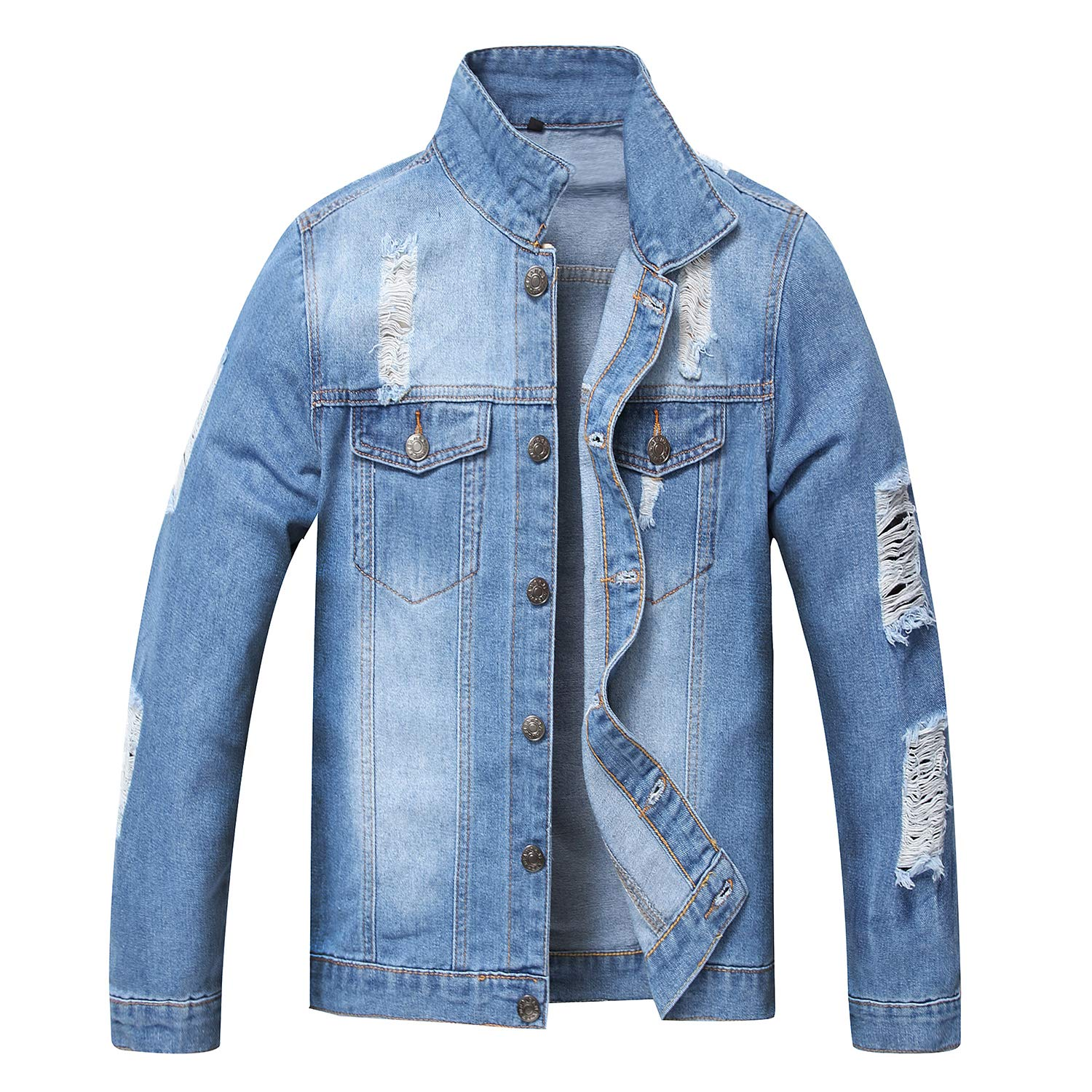 JYHER Men's Denim Jacket,Classic Ripped Slim Jean Coat Jacket with Holes by JYHER