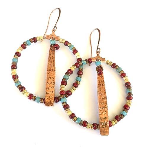 564a4ac2c2ee3 Amazon.com  Boho Beaded Hoop Earrings in Red