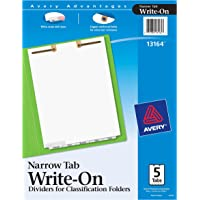 Avery Write-On Dividers for 2-Prong Classification Folders, White, Narrow Bottom Tabs, 5-Tab Set (13164)