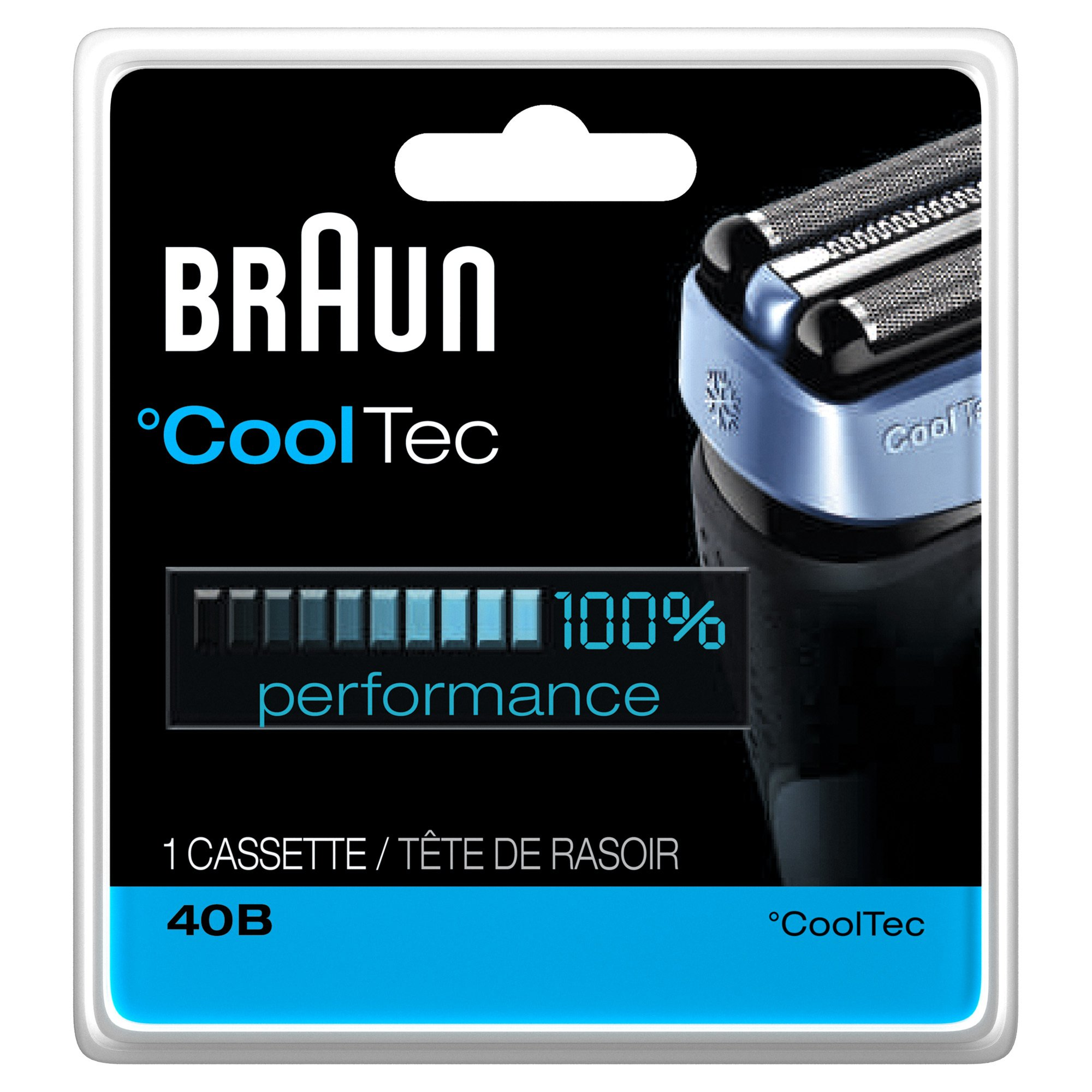 Braun 40B CoolTec Shavers Series Replacement Shaving Foil Head and Cutter Cartridge, 1 Count