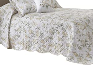 Nostalgia Home Juliette Bedspread, King, White Floral