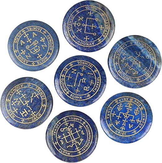 mookaitedecor 7 Piece Lapis Lazuli Stones with Engraved Magic Archangel Symbol Polished Palm Stone for Reiki Crystal Healing