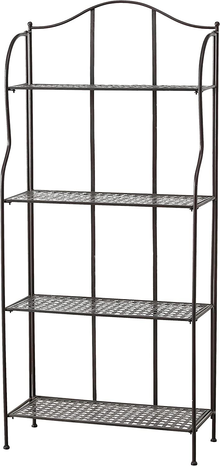 WHW Whole House Worlds Farmers Favorite Bakers Rack, Rustic Bronze Toned Iron, for Indoor and Outdoor Use, Over 5 Feet Tall