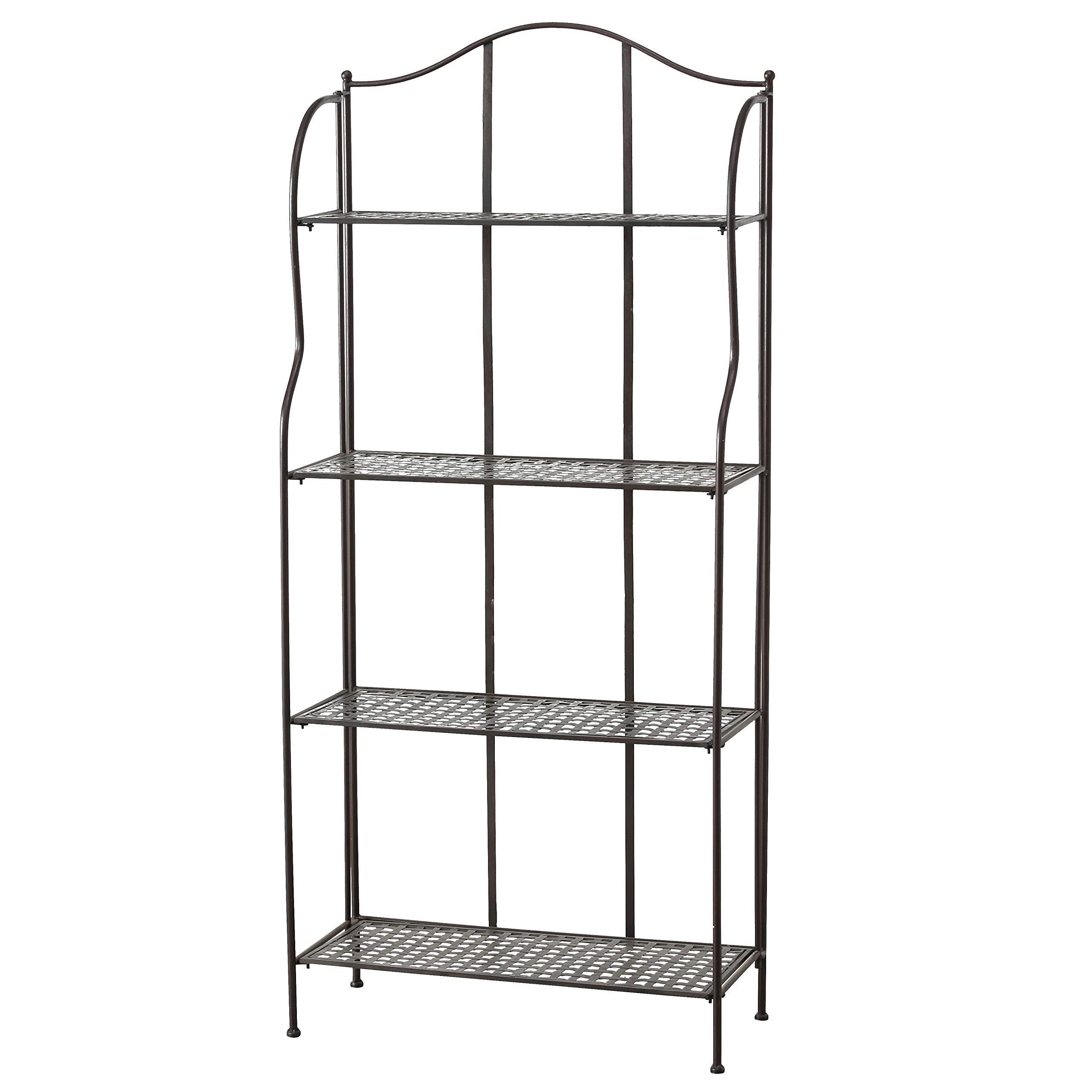 WHW Whole House Worlds Farmers Favorite Bakers Rack, Rustic Bronze Toned Iron, for Indoor and Outdoor Use, Over 5 Feet Tall by WHW Whole House Worlds