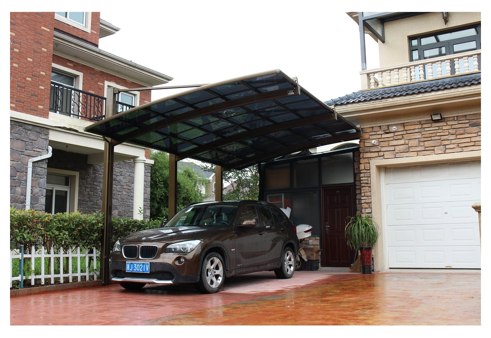 10 x 20 Feet Metal Carports Canopies Garage Tent Shelter Gazebo Aluminum With Gutter And Polycarbonate Panels, Metal RV Carport for Car, Yacht And Copter,Diagonal Style