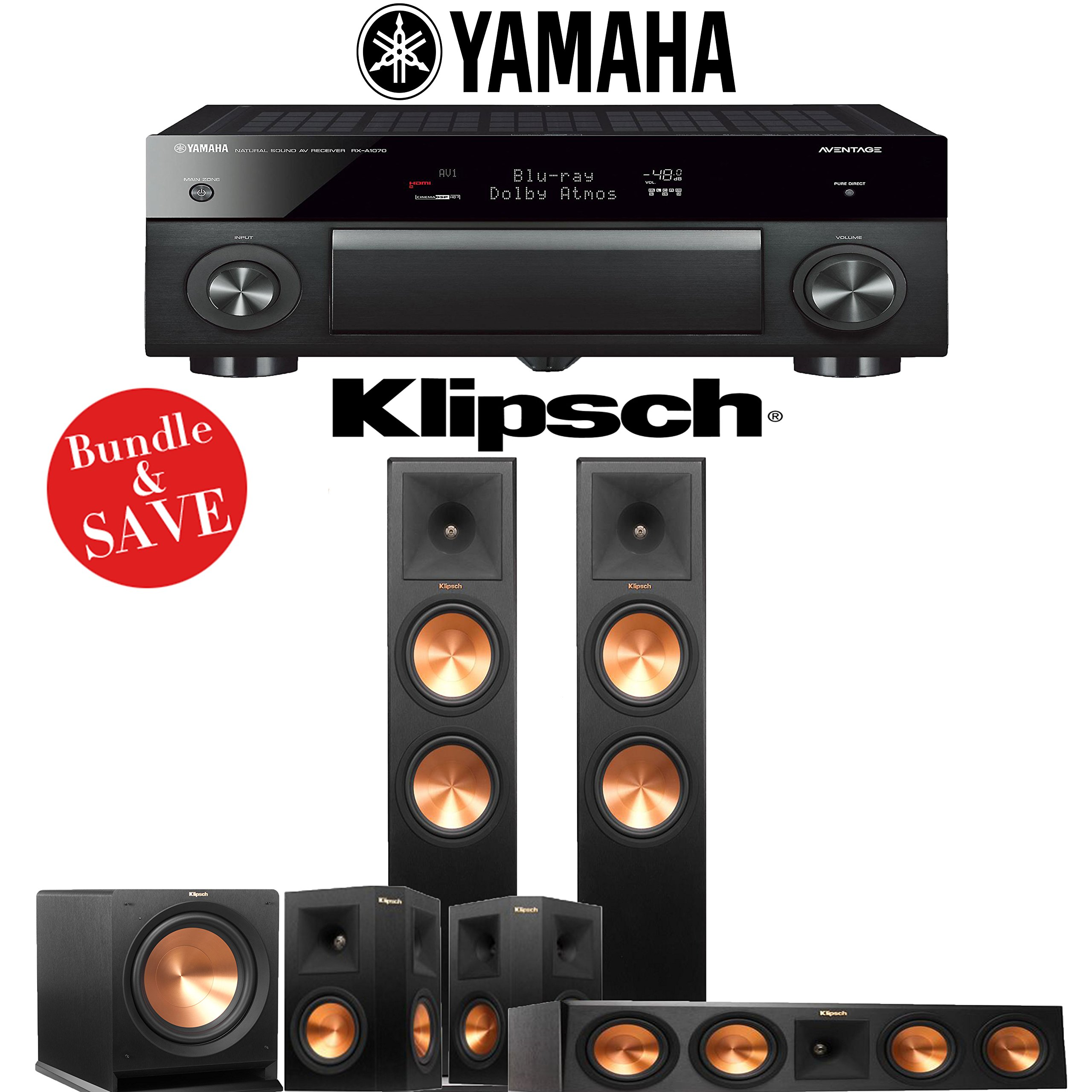 Klipsch RP-280F 5.1-Ch Reference Premiere Home Theater System with Yamaha AVENTAGE RX-A1070BL 7.2-Channel Network AV Receiver