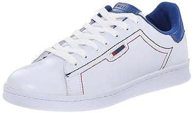 Tommy Hilfiger Women's Suzane 2 White/Bright Blue/Nappa Calf Sneaker 7.5 M