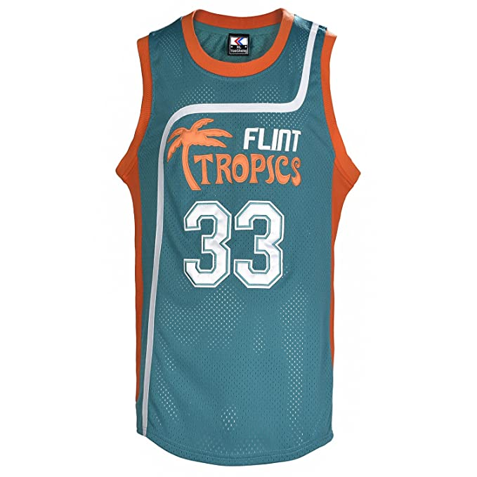 5254711f99c YueSheng Men s 33 Flint Tropics Jackie Moon Semi Pro Basketball Jersey  Athletic Sports Green Jerseys S