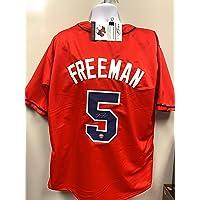 $149 » Freddie Freeman Atlanta Braves Signed Autograph Custom Jersey Red W/Blue LoJo Sports Certified COA