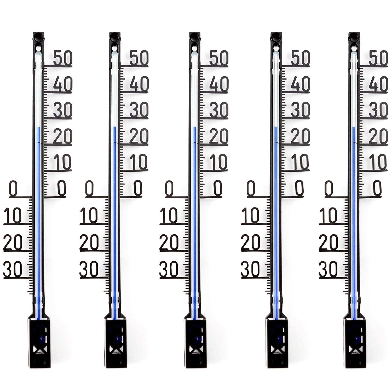Lantelme 5 Stü ck Set Garten - Aussen Thermometer Gartenthermometer Deutsche Herstellung Analog, Kunststoff, Farbe schwarz