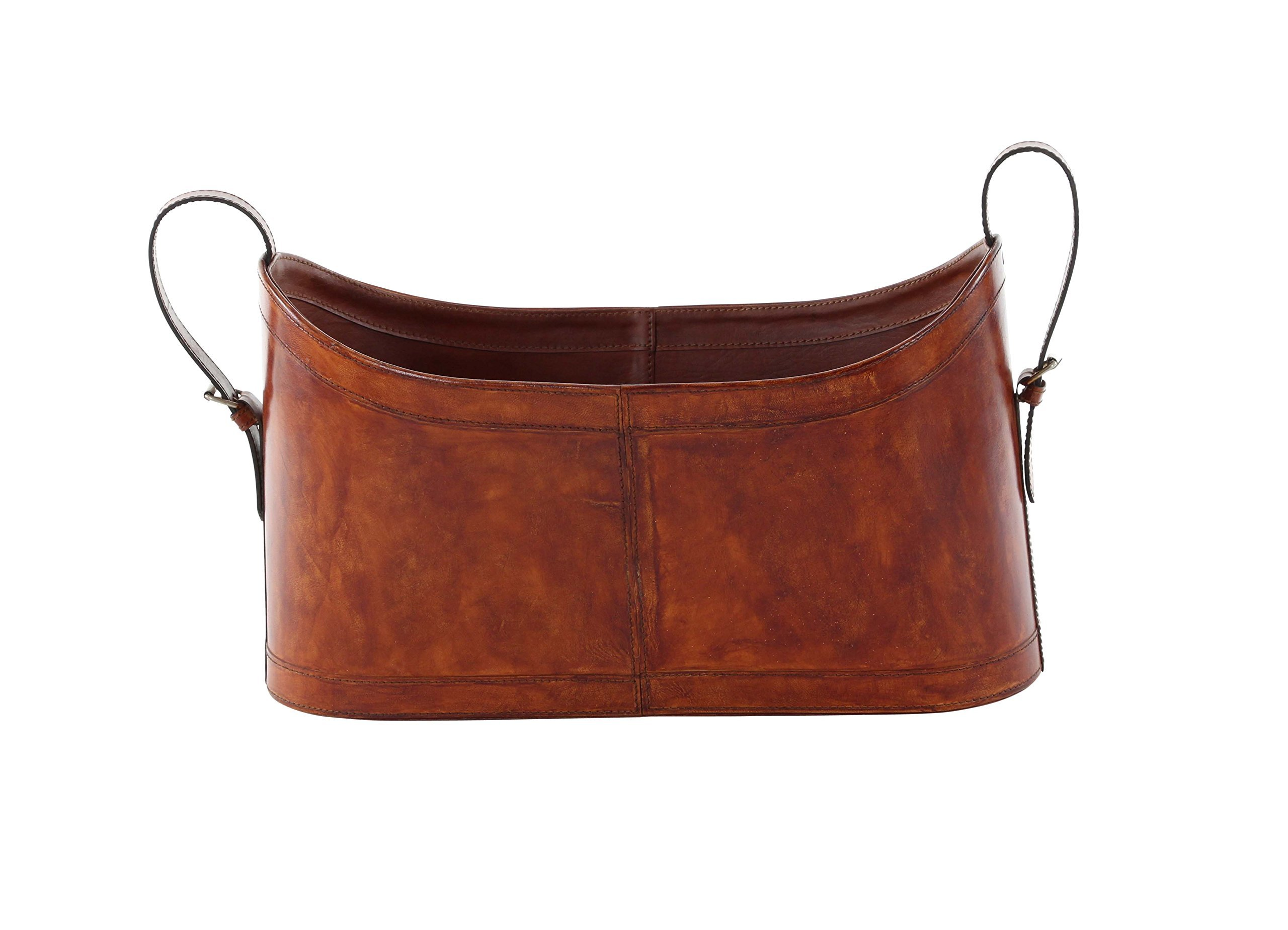 Deco 79 95061 Authentic Leather and Wood Magazine Holder, 12'' x 21'', Brown