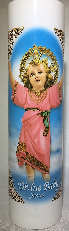 Divine Baby Jesus  Divino Nino Jesus   LED Flameless Prayer Candle with Automatic Timer   English & Spanish   7-Day Novena Candlelight Vigils   Catholic Religious Gifts Bright Glow Candle Co.