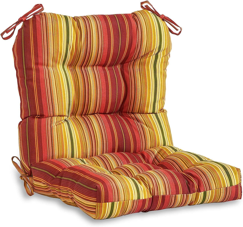 South Pine Porch AM5815-KINNABARI Kinnabari Stripe Outdoor Seat/Back Chair Cushion