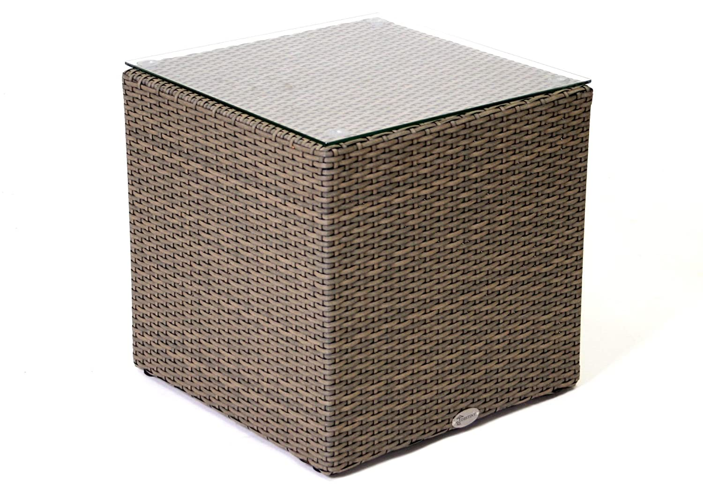 Destiny Carlos Kubus Grau Beige Tisch 45 x 45 cm Lounge Beistelltisch Loungetisch Cubus