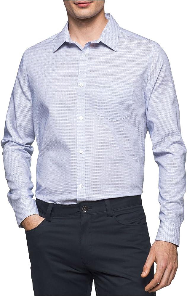 Calvin Klein Hombres de Manga Larga botón Infinite Cool Down Camiseta con diseño de Rayas - Blanco -: Amazon.es: Ropa y accesorios