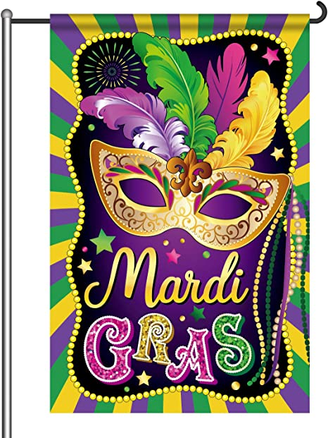 Amazon Com Mardi Gras Garden Flag New Orleans Party Decorations Mardi Gras Hanging Garland For Home Masquerade Party Outdoor Indoor Decor Double Sided Home Kitchen