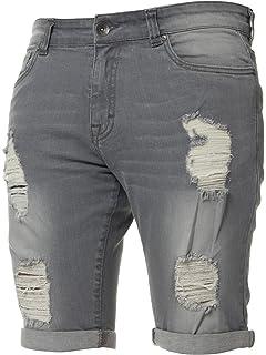 23ec88431aa Kruze Mens Denim Shorts Stretch Regular Fit Distressed Ripped Half Jeans  Pants