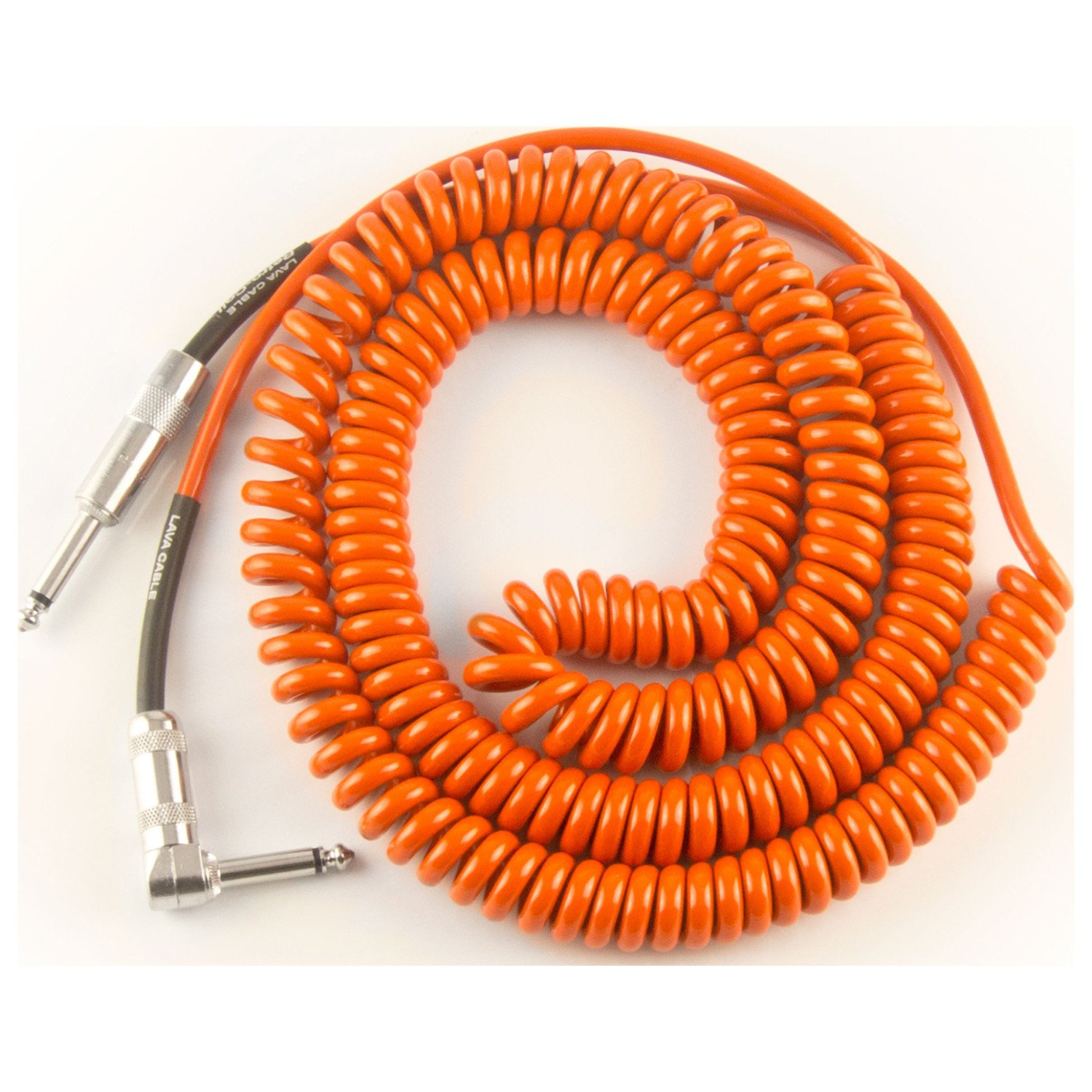 Lava Cable Retro Coil Silent Instrument Cable Orange, 20 Feet Angled-Straight