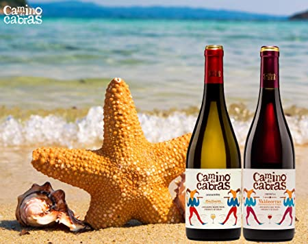 CAMINO DE CABRAS Estuche regalo – Producto Gourmet – Vino blanco - Albariño Rias Baixas + Vino tinto Crianza – Valdeorras – Mencía - Vino bueno para regalo - 2 botellas x 75cl