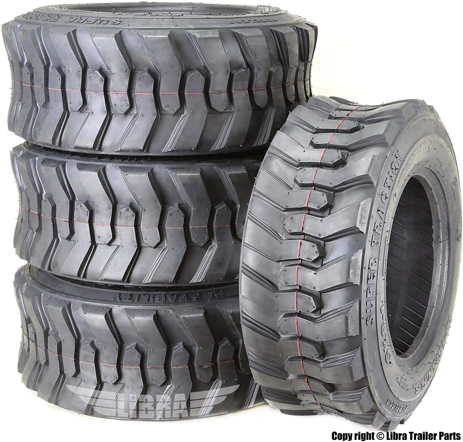 Set 4 New Super Guider Heavy Duty 10-16.5//10PR SKS1 Skid Steer Tire for Bobcat w//Rim Guard