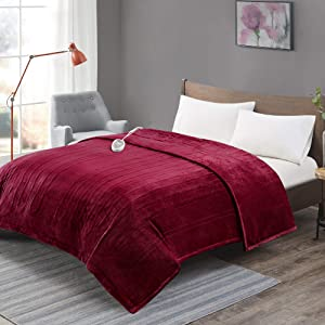 Degrees of Comfort [Advanced] Microplush Electric Blanket for Bed & Living Room | Machine Washable Heated Blanket W/Auto Shut Off | Preheat Setting | UL Certified and EMF Radiation Safe - Red