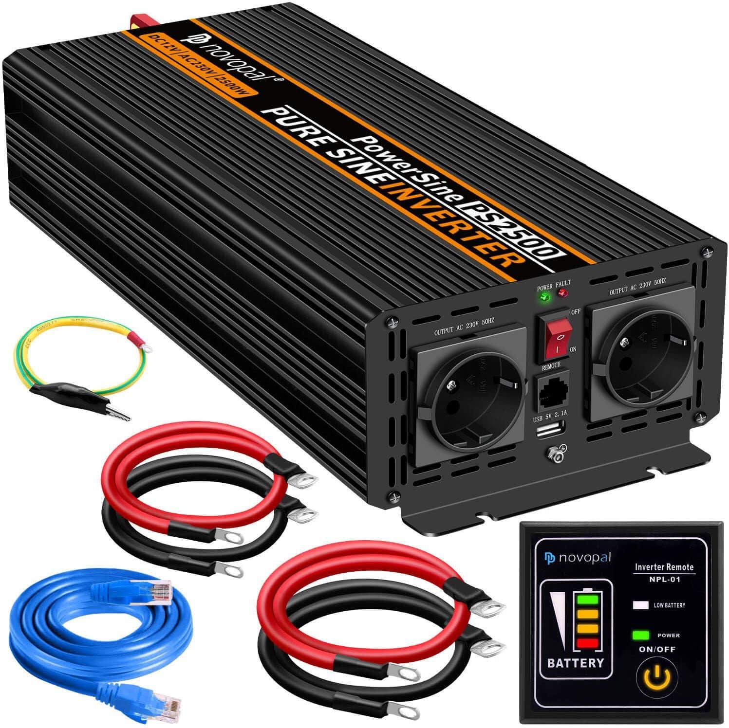 Auto Wechselrichter 12V auf 230V Umwandler inkl Inverter Konverter mit 2 EU Steckdose und USB-Port 2500W KFZ Reiner Sinus Spannungswandler 5 Meter Fernsteuerung Spitzenleistung 5000 Watt