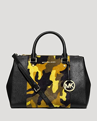 147621bdc22141 Image Unavailable. Image not available for. Color: Michael Kors Sutton  Haircalf Satchel in Camo / Acid Lemon