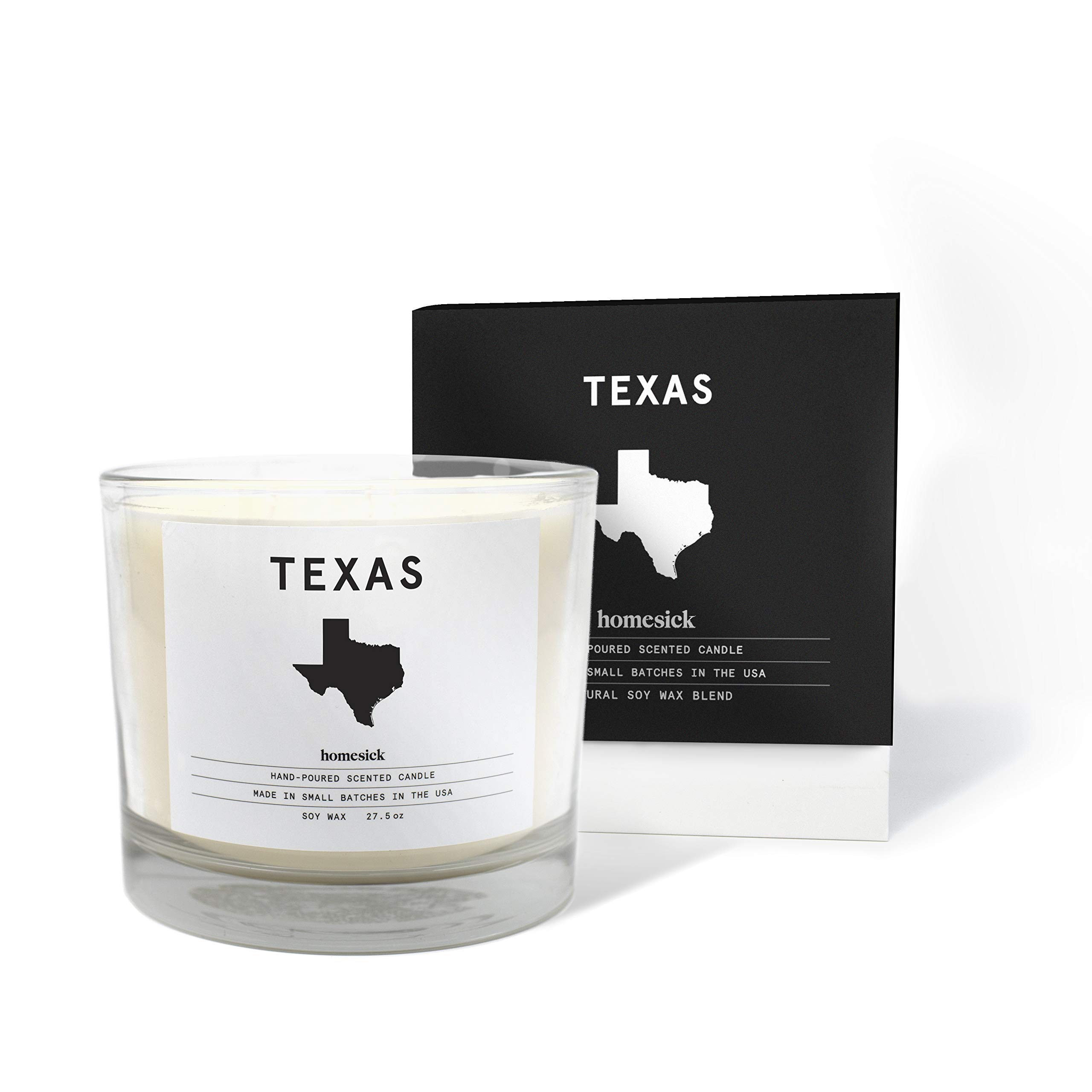 Homesick Soy Wax-27.5 oz 3 Wick Scented Candle (90 to 110 hrs Burn Time), Texas