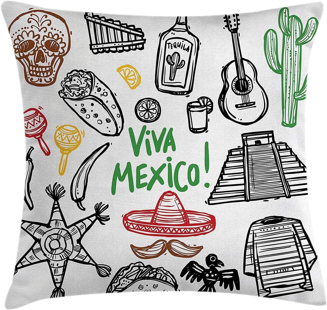Viva México Guitarra Cactus Barba Maracas Panqueque Sombrero de ...