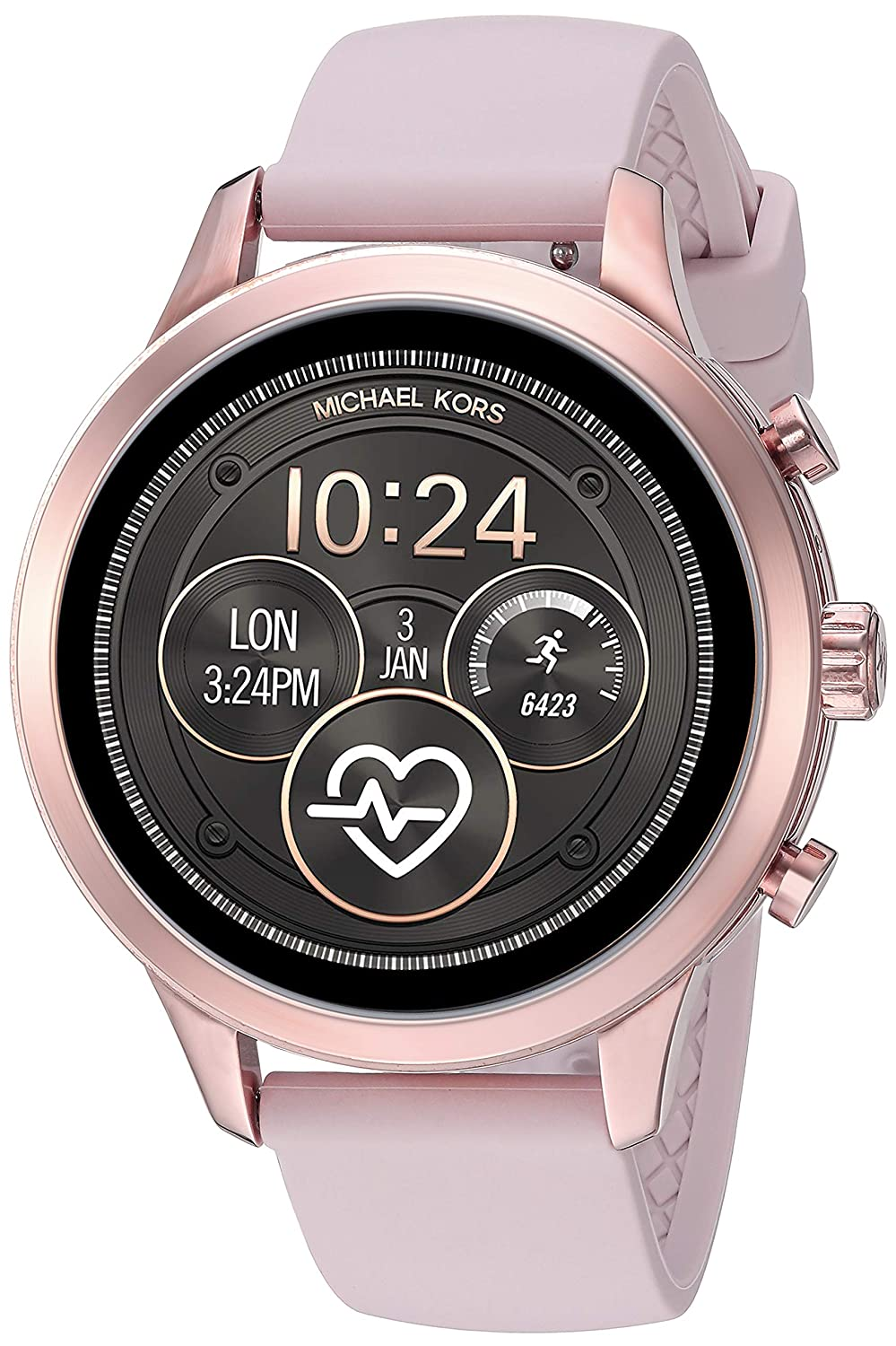 Michael Kors Womens Access Runway Stainless Steel Silicone Smart Watch, Color: Rose gold-tone (Model: MKT5048)