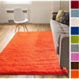 Solid Retro Modern Orange Shag 5x7 ( 5' x 7'2'' ) Area Rug Plain Plush Easy Care Thick Soft Plush Living Room Kids Bedroom