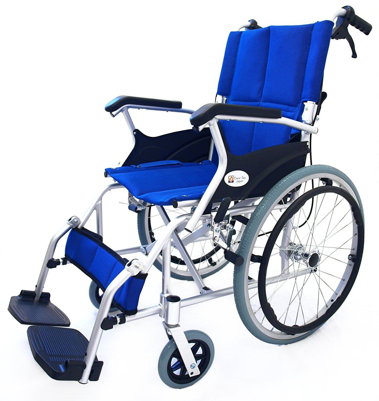 ケアテックジャパン 自走式 アルミ製 折りたたみ 車椅子 スマイル ブルー CA-70SU B00ODKOYVY