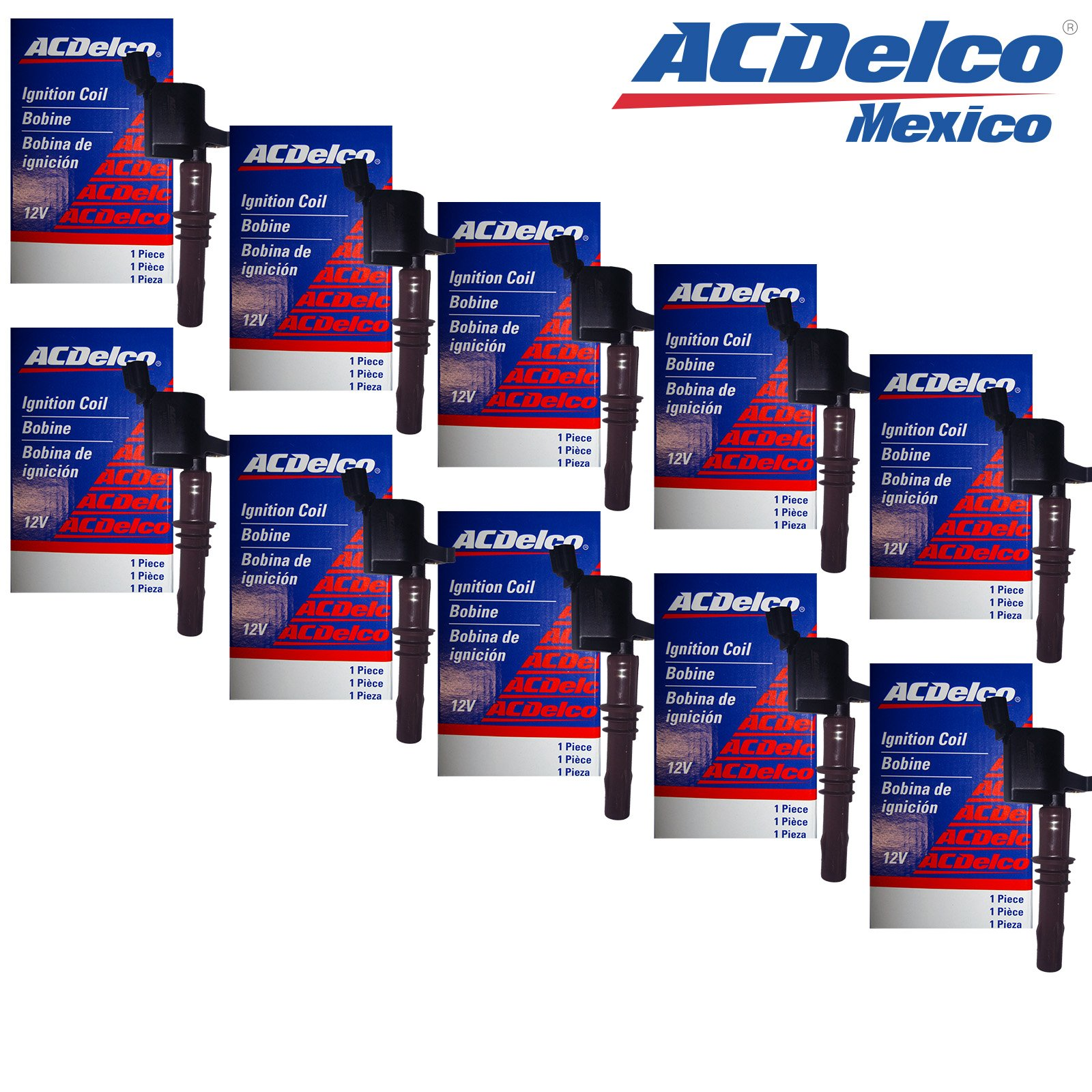 New OEM ACDelco Mexico Ignition Coil Set (10) Brown Boot