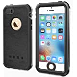 SPARIN iPhone SE Waterproof Case, iPhone 5 / 5S Waterproof, Dust Proof, Snow Proof, Shock Proof Case with Available Touch ID, Compatible with Magnetic Car Mount, and Clear Sound - Black
